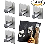 3M Self Adhesive Hooks Without Drilling, Laukowind 5 Pcs 304 Stainless Steel Heavy Duty Bathroom Hook Towel Robe Coat Clothes Bag Hanger Holder for Bathroom, Kitchen,Room