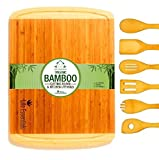 Extra Large Bamboo Cutting Board Set - The Perfect Gift. Kitchen Chopping Board and Serving Tray for Cheese, Veggie, Meat, Bread & Fish. Ideal for Housewarming, Wedding, Retirement and Birthdays.