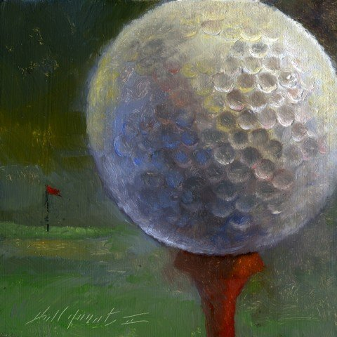 Hand Painted Golf Ball - 100% Genuine Real Hand Painted Golf Ball Canvas Oil Painting for Home Wall Art Decoration, Not a Print/ Giclee/ Poster, FRAMED, Ready to Hang