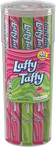 Laffy Taffy Rope, Sour Apple and Strawberry Canister, 48 Count (Rope Taffy)
