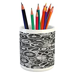 Ambesonne Clock Pencil Pen Holder, Realistic Look Cogwheels Mechanism Gear Engineering and Technologic Themed Pattern, Printed Ceramic Pencil Pen Holder for Desk Office Accessory, Grey Silver