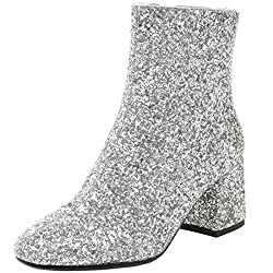 Women's Sequin Glitter Chunky Heels Sparkly Boots