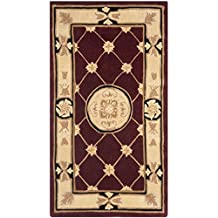Safavieh NA523A Naples Collection Handmade Hand-Spun Wool Area Runner, 2-Feet 5-Inch by 4-Feet 5-Inch, Burgundy and Ivory