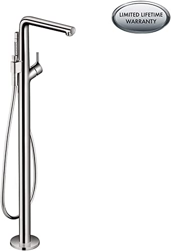 hansgrohe Modern Talis S 1-Handle 6-inch Wide Wall-Mounted Freestanding Bathtub Faucet with Handshower in Chrome, , 72412001