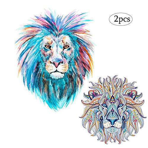 Lion Patches Heat Transfers Iron on Stickers for Clothes Coats Jeans Jackets T-Shirt Sweatshirt Dresses DIY Art Decorations Large Animal Decals Appliques