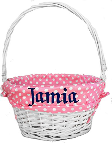 Personalized Easter Basket for Girls ( Pink Coral - Personalized ) White Wicker Basket with Folding Handle and Easter Polka Dot Liner Kids Monogrammed with Child's Name in Embroidery