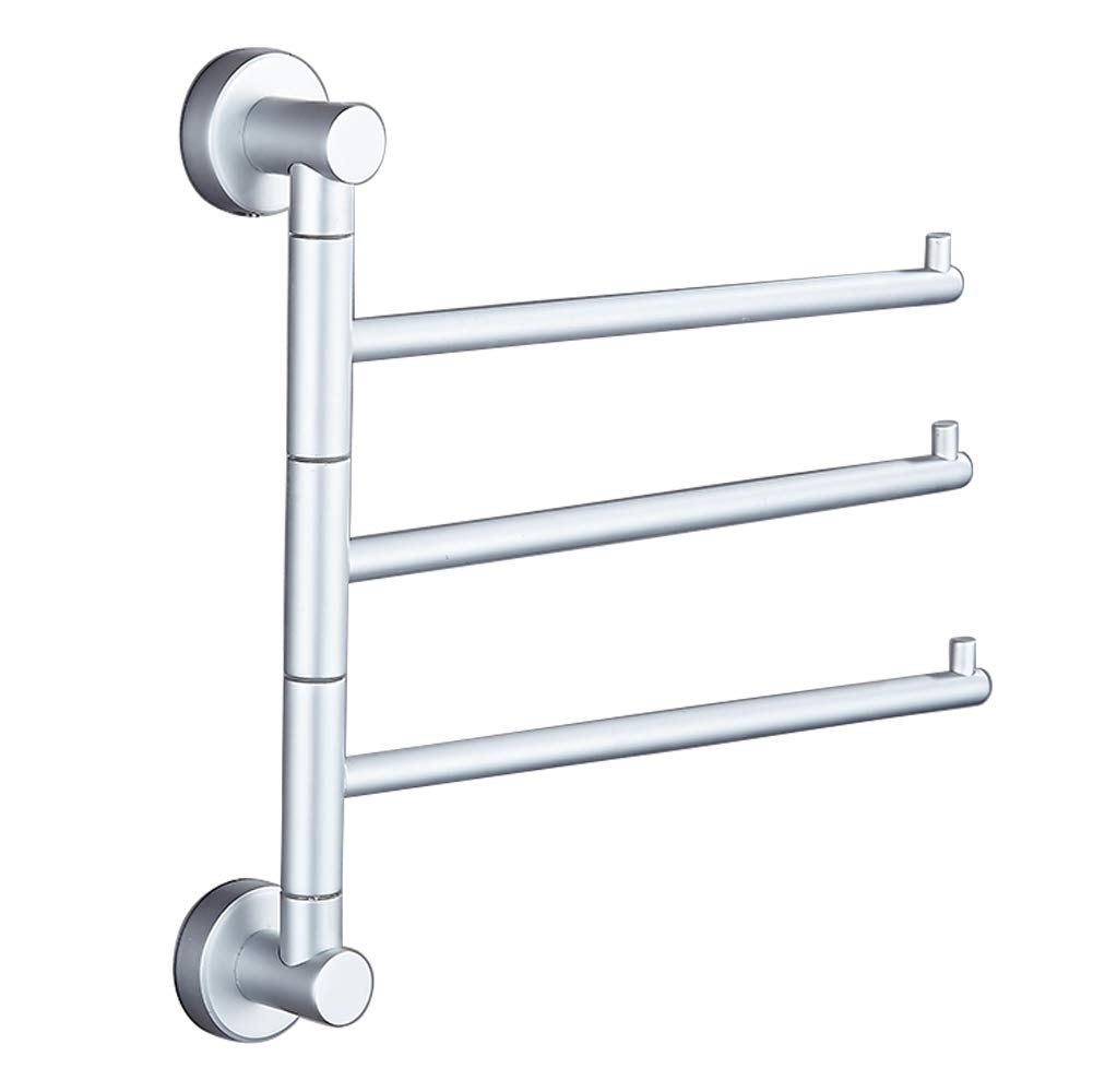 SOQO Bath Towel Holder Wall Mounted Swing Out Towel Bar Bathroom Aluminum Hand Towel Rack 3-Bar Folding Arm Swivel Hanger (Aluminum, 3 Bars)