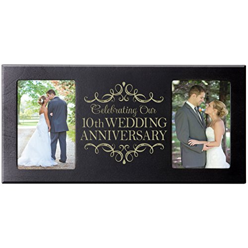 10th Wedding Anniversary Picture Frame Gift for Couple,10th Anniversary Gifts for Her,10th Wedding Anniversary Gifts for Him Photo Frame Holds 2- 4x6 Photos (Black)
