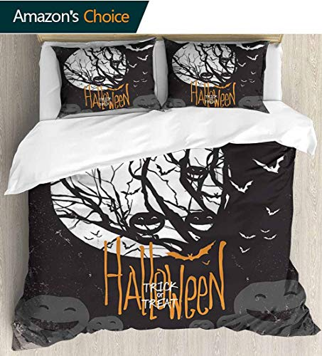 shirlyhome Vintage Halloween Print Comforter Quilt Set,Halloween Themed Image with Full Moon and Jack o Lanterns on a Tree with 1 Pillowcase for Kids Bedding 87
