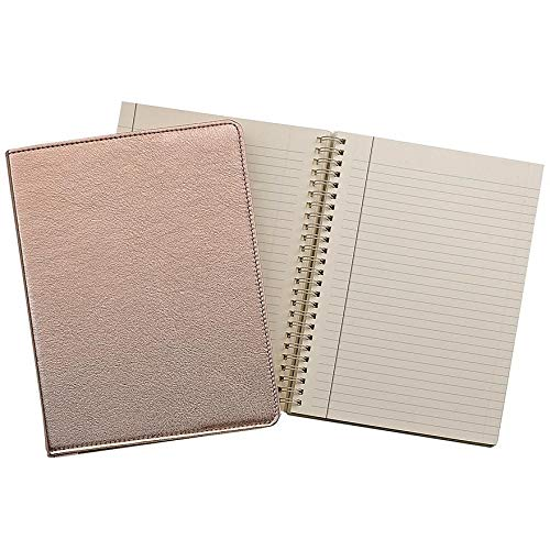 Wire-O-Notebook 9in Metallic Rose-Gold Fine Leather by Graphic ImageTM - - Leather Graphic