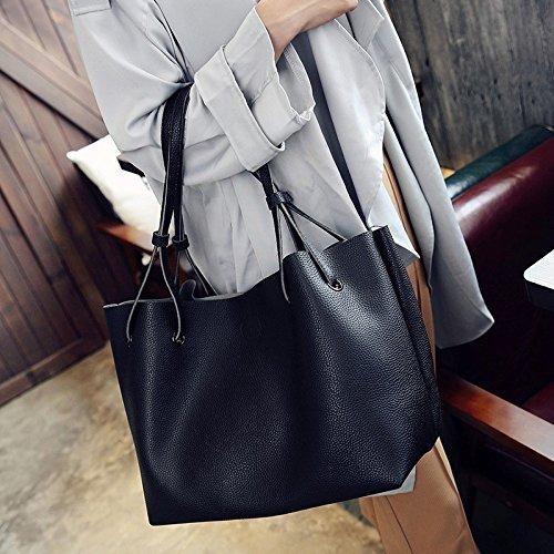 Review Wyhui 2 Pcs/set Women Leather Shoulder Messager Bag Tote Purse Handbag Crossbody Satchel Hot Black bags on sale