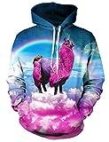 Loveternal Unisex Hoodie 3D Printed Pink Alpaca Long Sleeve Fleece Pullover Sweatshirt for Teen Boys Girls S/M