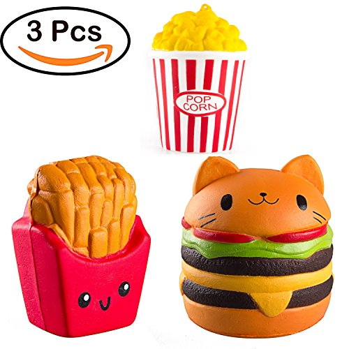 Kyson 3PCS Jumbo Squishy Slow Rising Toy KawaiiEmoji Toy for Kids,Adults,Relieving Stress and Anxiety,Cabinet Decor(Popcorn+French Fries+Hamburgers)