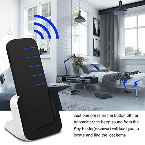 Wireless Key Finder Wallet Locator – Luxsure Mini Item Tracker Cell Phone Luggage Bags Purse Pet Remote Control Anti lost Tag w/ Base Support, 1 RF Transmitter & 4 Receivers