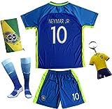 BRAZIL NEYMAR JR #10 Away Blue Football Soccer Kids Jersey Short Socks Set Youth Sizes (9-10 YEARS)