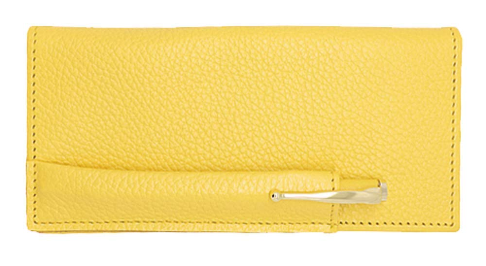 Yellow Genuine Leather Checkbook Cover with Matching Leather Hand-wrapped Gold Pen - Made in USA by Real Leather Creations FBA651