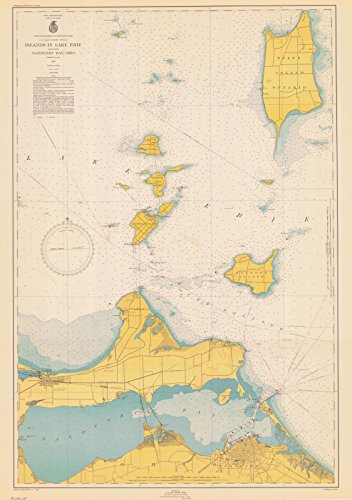 Map - Islands In Lake Erie Including Sandusky Bay Ohio, 1946 Nautical NOAA Chart - Ohio (OH) - Vintage Wall Art - 24in x 34in (Erie Depth Lake Chart)