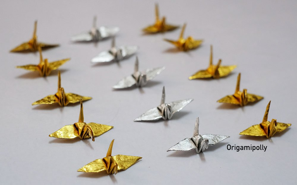 1000 Origami Paper Crane in Gold and Silver With Rose Pattern 1.5 inch Origami Paper Origami Cranes Origami Paper Cranes