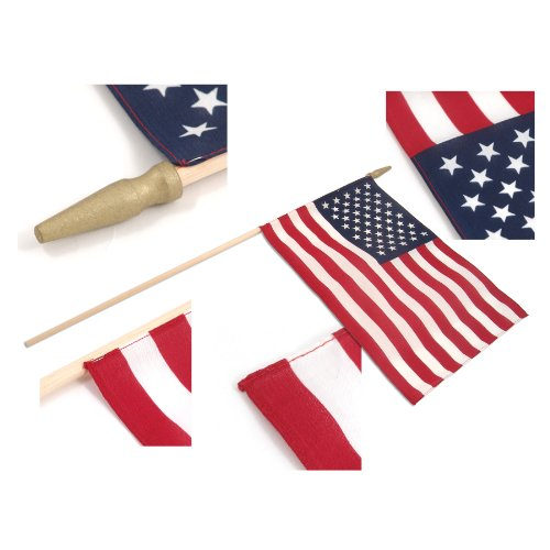 US Stick Flag 12in x 18in Standard Wood Stick with Spear Tip (25) For Sale