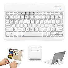 Teclado inalámbrico Bluetooth, GOOJODOQ Teclado Bluetooth 3.0 de 10 Pulgadas con Soporte aplicado a tabletas y teléfonos Inteligentes iOS/Android/Windows (Blanco)
