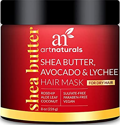ArtNaturals Shea-Butter Avocado and Lychee Hair-Mask – 8 Oz – Moisturizing Silk – Nourishing For Dry and Damaged Hair – Sulfate-Free, Paraben-Free and Cruelty-Free – Coconut, Aloe Vera and Rosehip
