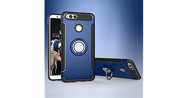 YHUISEN Armor Dual Layer 2 in 1 Heavy Duty Shockproof Protection Case with 360 Degree Rotating Finger Ring Holder and Magnet Car Holder Case for Huawei Honor 7X Car Electronics & Accessories Color : Blue