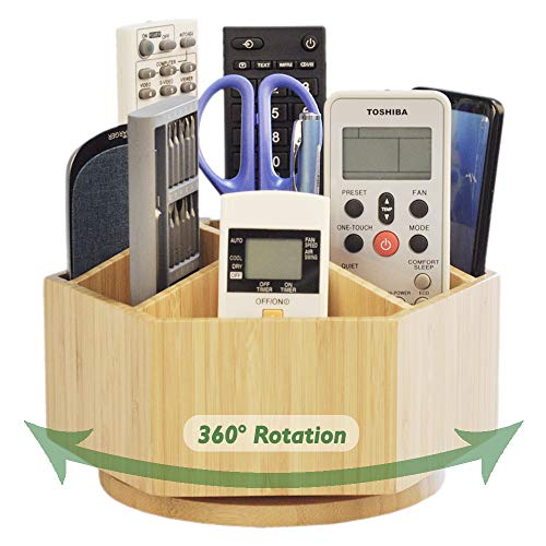 (Bamboo Rotating TV Remote Holder, Remote Caddy with 7 Sections for Keys, Remote Controls, Nail Clippers, Medication and More, All-in-one Living Room Holder)
