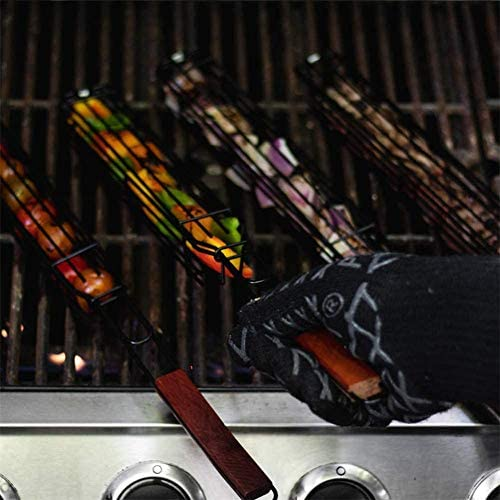 YUHQW Easy Kebab Barbecue Baskets - BBQ Long Handle Grill Basket Barbecue Rack- Non-Stick Single Kabob, Vegetable, Sausage Baskets 2PCS