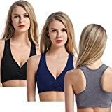 CAKYE Women's Maternity Nursing Bra for Sleep and Breastfeeding 3 Pcs/Pack (Small/34B,34C,34D, Black/Navy/Charcoal Racerback)