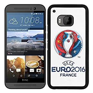 Funda carcasa para HTC One M9 diseño UEFA Euro 2016 borde negro