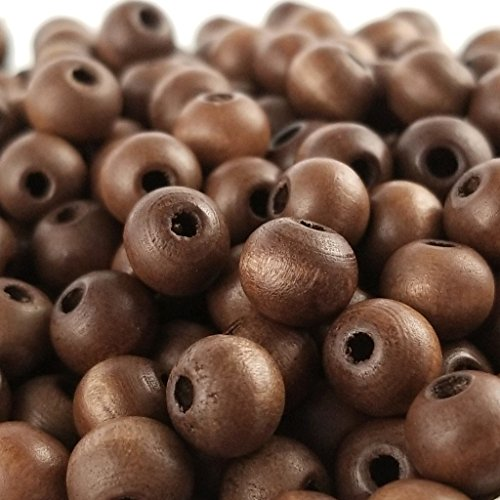 7mm Wood Round Beads - 150pc Matte Wood Maghony Red Round Beads for Jewelry Making (7mm x 8mm)