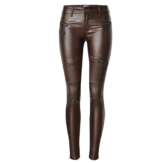 71245495746f Keephen Tela Mojada para Mujer Leggings De Cintura Alta Pantalones ...