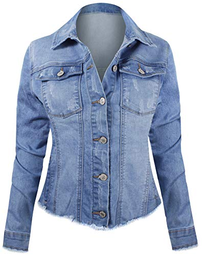 Women's Button Down Long Sleeve Classic Outerwear Denim Jacket ()