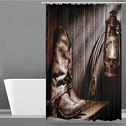 VIVIDX Shower Curtain with Hooks,Western,Dallas Cowboys and Lantern on a Bench in Vintage Ranch Nostalgic Folkloric Photograph,Bathroom Decoration,W36x72L Brown