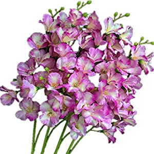 "jiumengya 8pcs Artificial Orchid Flower 20 Heads/Piece Light Purple Color Silk Hollyhock Fake Hibiscus 27.56"" Lily of The Valley for Wedding Centerpieces Home Floral Decoration (Light Purple) 47"