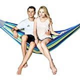 Hewolf Cotton 2 Person Hammock - Portable Brazilian Camp Hammock Lightweight Breathable Pool Lounge for Backyard,Porch,Date Outdoor and Indoor (Two Person Hammock, Blue)