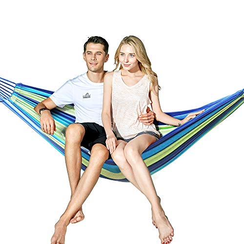 Hewolf Cotton 2 Person Hammock - Portable Brazilian Camp Hammock Lightweight Breathable Pool Lounge for Backyard,Porch,Date Outdoor and Indoor (Two Person Hammock, ()