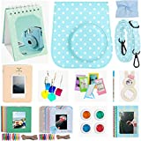 Katia Instant Camera Accessories for Fujifilm Instax Mini 9 or Mini 8 Instant Film Camera. (Fuji mini 9 Blue dots Case with strap, Photo Album, Frame, Selfie Len, Filters, Stickes & more) - Blue dots