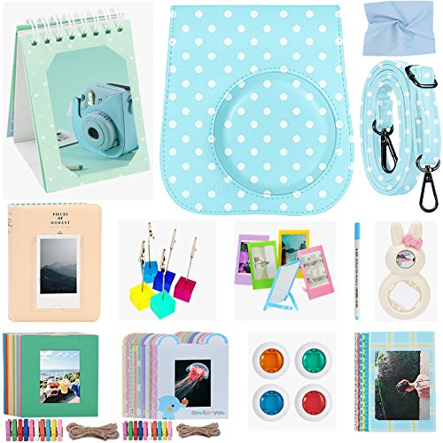 Katia Camera Accessories for Fujifilm Instax Mini 9 or Mini 8 Instant Film Camera – Fuji Case with Strap, Photo Album, Frame, Selfie Len, Filters, Stickers & more. – 12 in 1 (Blue dots)