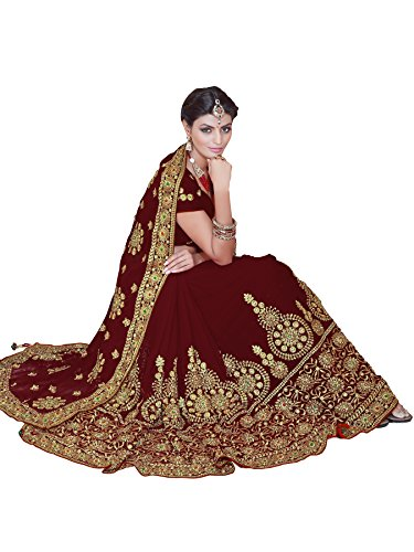 Mirchi Fashion Women's Faux Georgette Bridal Wedding Saree (4086_Maroon)