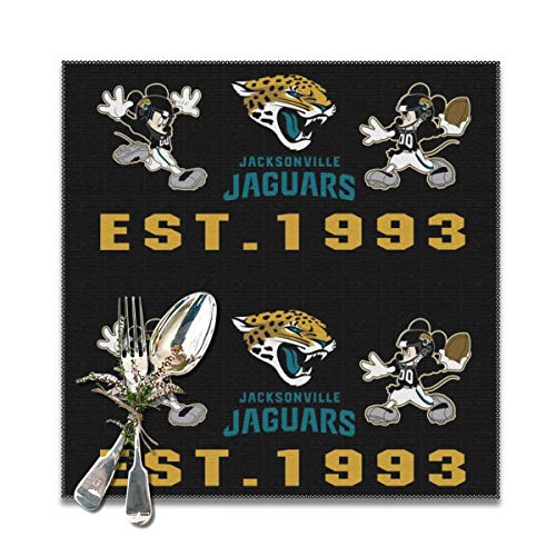 Jerrymoaus Jacksonville Jaguars Cartoon Table Mat Heat-Resistant Table Mat Non-Slip Washable Polyester Kitchen Table Mat Set of 6