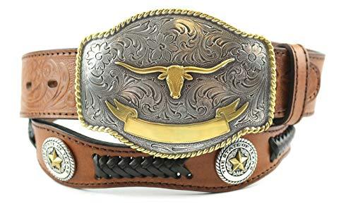 New!! Western Desidner Embossed Leather Texas Longhorn Cowboy Concho Belt (38, brown)