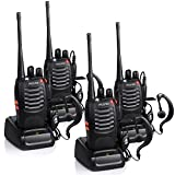 Proster Walkie Talkies Two Way Radio 16 Channel Rechargeable Walkie Talkie Ham Radio Tracsceiver UHF 400 to 470 MHz CTCSS DCS with Original Earpiece and USB Charger 4 Pair