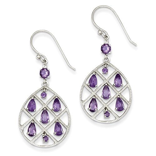 ICE CARATS 925 Sterling Silver Purple Amethyst Teardrop Drop Dangle Chandelier Earrings Fine Jewelry Ideal Mothers Day Gifts For Mom Women Gift Set From Heart by ICE CARATS