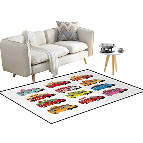 (Carpet,Ice Cream Asian Doughnut Burgers Pizza Sushi Hotdog Colorful Food Truck Illustration,Customize Rug Pad,MulticolorSize:55