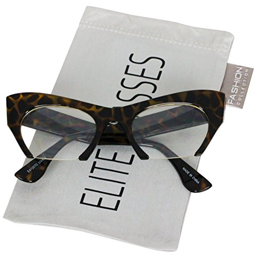 Style Clear Lens - Cat Eye Eyeglasses Women Retro Vintage Razor Clear Lens Style Half Cut Off Frame (Olive Tortoise, 2)