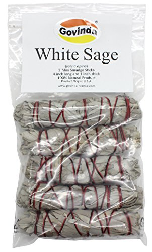 Govinda - Pack of 5 Mini White Sage Smudge Stick, 4 Inch Long