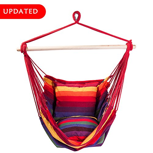 Cheap SUNMERIT Hanging Rope Hammock Chair Swing Seat for Indoor or Outdoor Spaces,275 lbs Capacity,2 Seat Cushions Included (Red & Yellow Stripes)