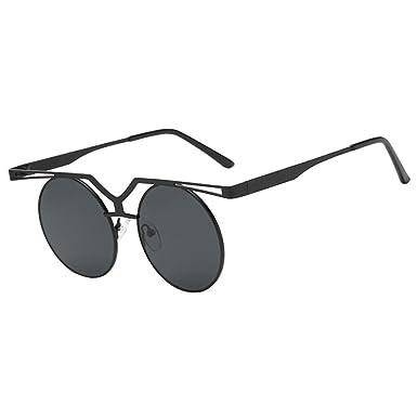 MagiDeal Steampunk Sunglasses Rétro Vintage Femme Cadre en Métal UV 400 - Noir rouge, Taille unique