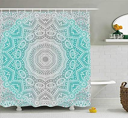 Grey And Turquoise Shower Curtain By Ambesonne Primitive Spiritual Essence Universe Harmony Mandala Ombre